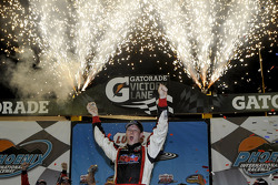 Race winner Erik Jones celebrates
