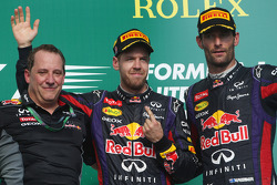 The podium, Red Bull Racing and second placed Mark Webber, Red Bull Racing