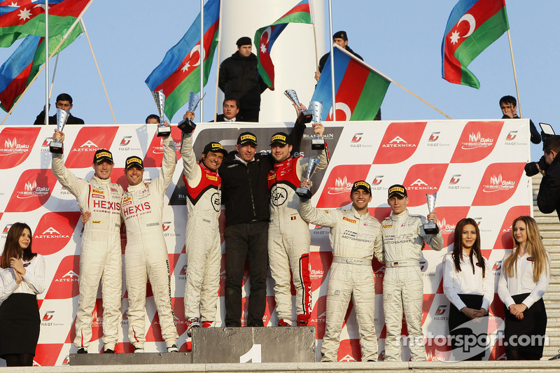Podium: race winners and champions Stéphane Ortelli, Laurens Vanthoor, second place Rob Bell, Kevin Estre, third place Maximilian Buhk, Alon Day
