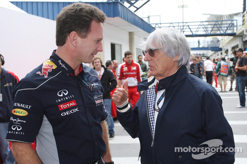 (L to R): Christian Horner, Red Bull Racing Team Principal with Bernie Ecclestone, CEO Formula One Group