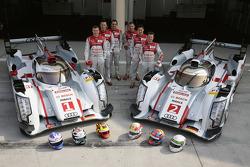 #1 Audi Sport Team Joest Audi R18 e-tron quattro: Andre Lotterer, Benoit Tréluyer, Marcel Fässler and #2 Audi Sport Team Joest Audi R18 e-tron quattro: Tom Kristensen, Allan McNish, Loic Duval