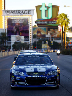 Jimmie Johnson drives during NASCAR Victory Lap