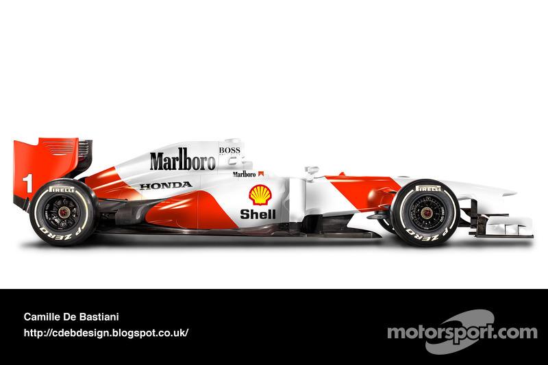 سيارة فورمولا واحد حديثة بألوان مكلارين 1992