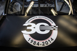Hendrick Motorsports Chevrolet 30th anniversary signage in the car of Dale Earnhardt Jr., Hendrick Motorsports Chevrolet