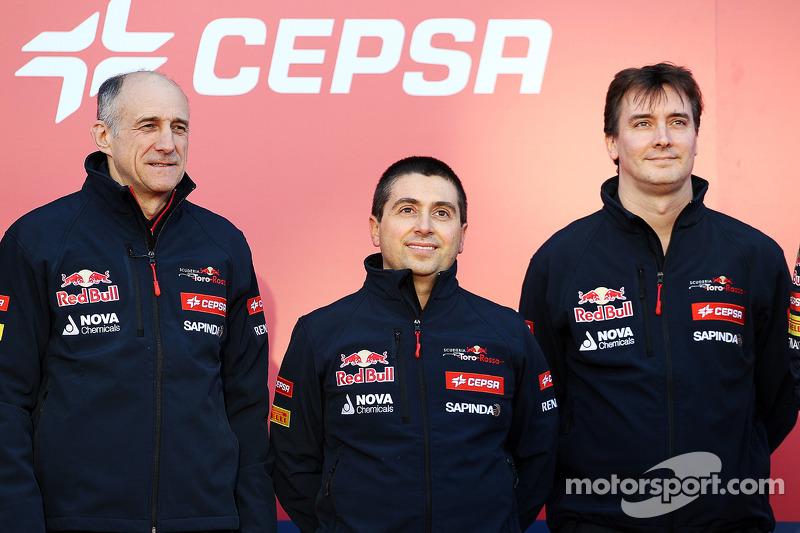 (L to R): Franz Tost, Scuderia Toro Rosso Team Principal; Luca Furbatto, Scuderia Toro Rosso Chief Designer; and James Key, Scuderia Toro Rosso Technical Director, at the unveiling of the Scuderia Toro Rosso STR9