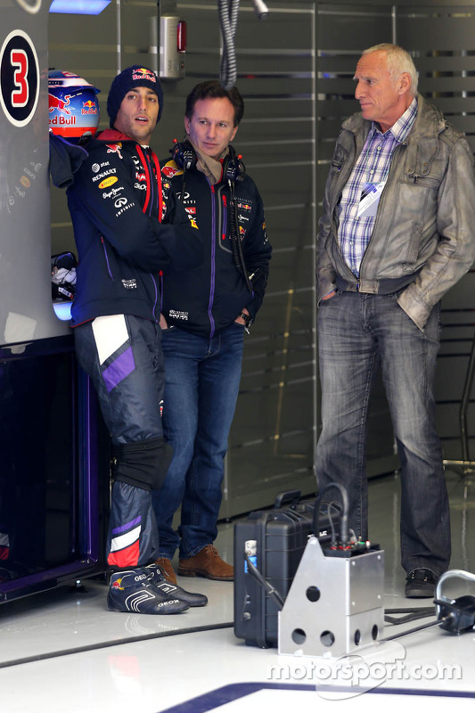 Daniel Ricciardo, Red Bull Racing, Christian Horner, Red Bull Racing e Dietrich Mateschitz, dono da