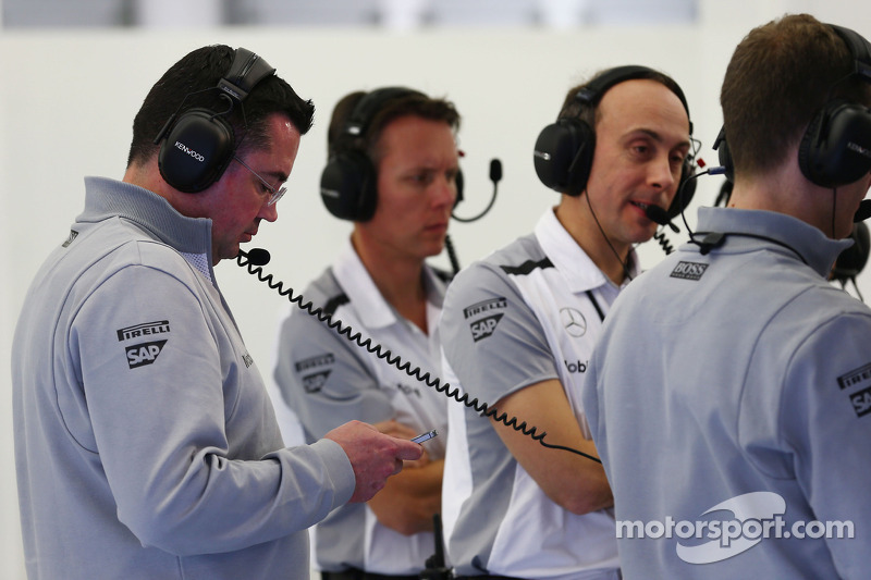 (L to R): Eric Boullier, McLaren Racing Director with Sam Michael, McLaren Sporting Director and Phi