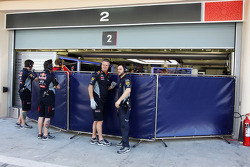 Covers up outside the Red Bull Racing pit garage