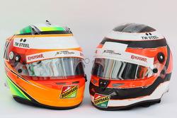 Los cascos de Sahara Force India F1, Sergio Pérez y Nico Hulkenberg, Sahara Force India F1