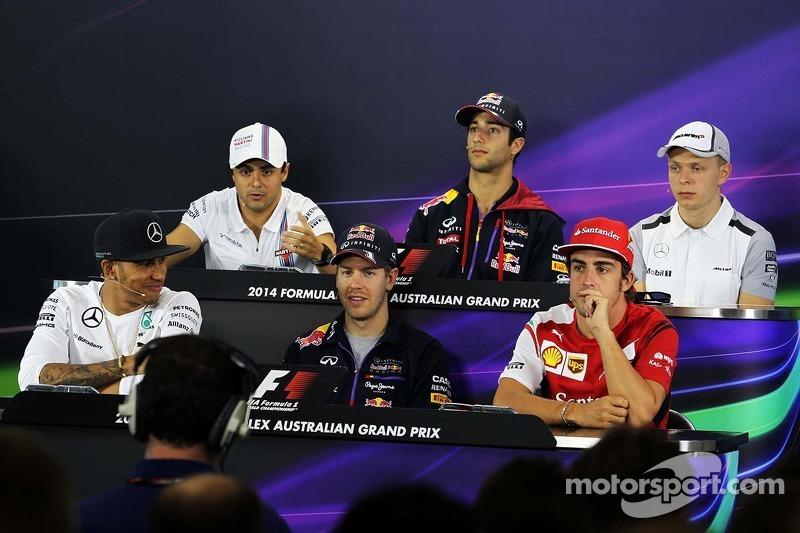 Conferenza stampa FIA, Williams; Daniel Ricciardo, Red Bull Racing; Kevin Magnussen, McLaren; Lewis Hamilton, Mercedes AMG F1; Sebastian Vettel, Red Bull Racing; Fernando Alonso, Ferrari