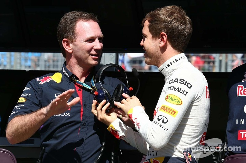 (L to R): Christian Horner, Red Bull Racing Team Principal with Sebastian Vettel, Red Bull Racing