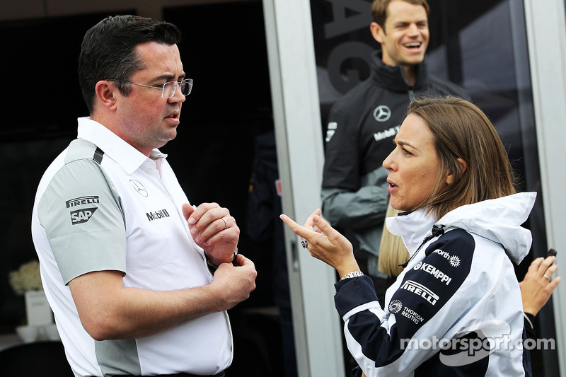 (L to R): Eric Boullier, McLaren Racing Director with Claire Williams, Williams Deputy Team Principa
