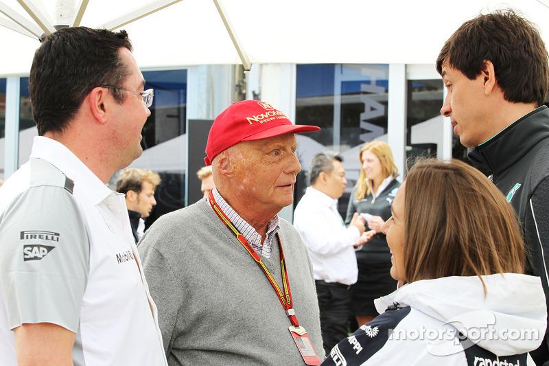 (L to R): Eric Boullier, McLaren Racing Director with Niki Lauda, Mercedes Non-Executive Chairman, C