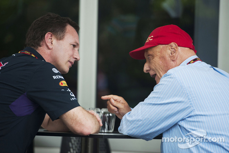 (L to R): Christian Horner, Red Bull Racing Team Principal with Niki Lauda, Mercedes Non-Executive C