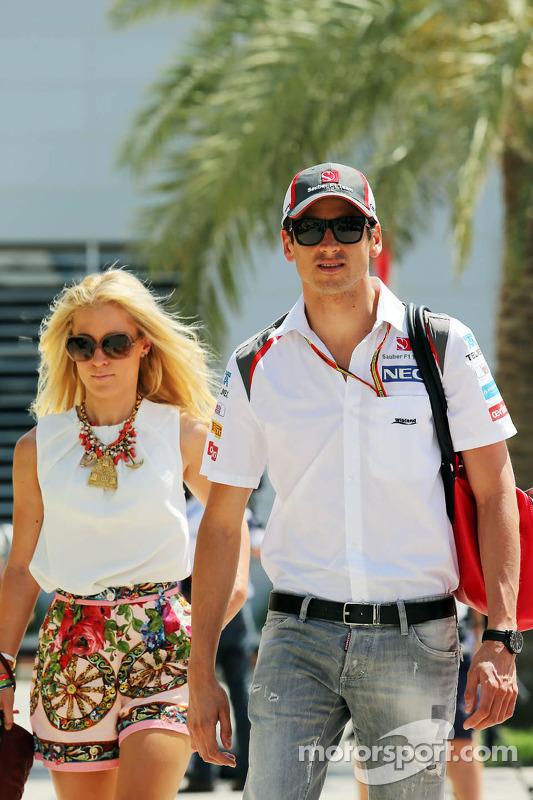 Adrian Sutil, Sauber; und seine Freundin Jennifer Becks