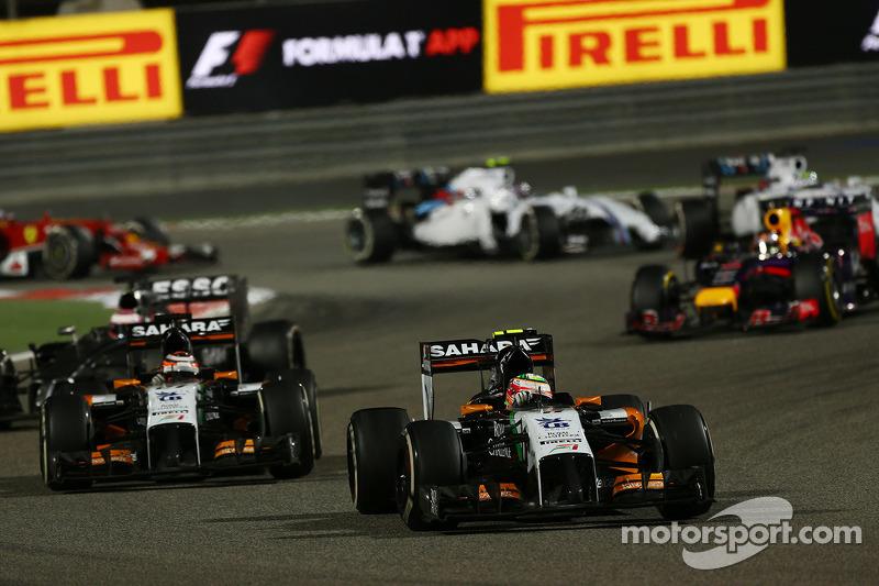 Sergio Perez, Sahara Force India F1 VJM07, davanti a Nico Hulkenberg, Sahara Force India F1 VJM07