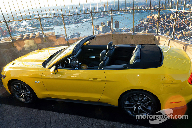 A Ford Mustang convertible built on the 86th floor of the Empire State Building to celebrate the brand's 50th anniversary