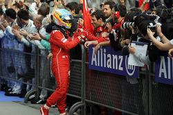 Fernando Alonso, Ferrari celebrates his third position in parc ferme