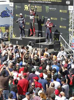 Pódio: vencedor Petter Solberg, segundo lugar Andreas Bakkerud, terceiro lugar Reinis Nitiss