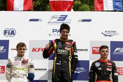 Podium: race winner Esteban Ocon, second place Lucas Auer, third place Max Verstappen