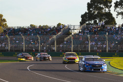Tim Blanchard, Brad Jones Racing Holden, leads Chaz Mostert, Tickford Racing Ford, and Scott Pye, Walkinshaw Andretti United Holden