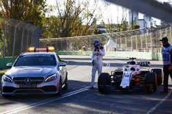 Lance Stroll, Williams Racing, is picked up by the Medical Car for a lift back to the pits