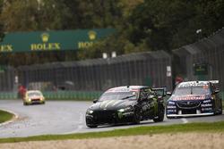 Cameron Waters, Tickford Racing Ford, leads Shane van Gisbergen, Triple Eight Race Engineering Holden