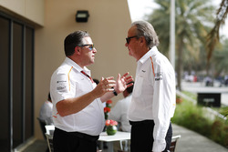 Zak Brown, Executive Director, McLaren Technology Group, talks to Mansour Ojjeh, co-owner, McLaren