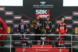 Podyum: Yarış galibi Jonathan Rea, Kawasaki Racing, 2. Michael van der Mark, Pata Yamaha, 3. Chaz Davies, Aruba.it Racing-Ducati SBK Team