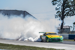 The #86 TA Ford Mustang, John Baucom of Baucom Motorsports goes up in smoke after blowing his engine