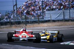 Mario Andretti, Alfa Romeo 179C, leads Alain Prost, Renault RE30