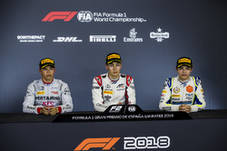 Second place Nyck De Vries, PREMA Racing, race winner George Russell, ART Grand Prix, third place Lando Norris, Carlin