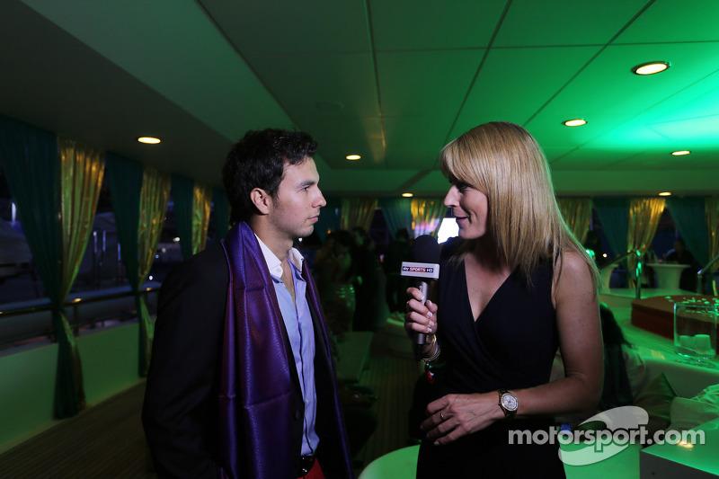 Sergio Perez, Sahara Force India F1, con Rachel Brookes, Sky Sports F1 Reporter al Signature Monaco