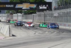 #90 Spirit of Daytona Corvette DP: Richard Westbrook, Michael Valiante lead into turn 1 at the start