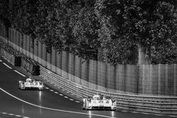 #2 Audi Sport Team Joest Audi R18 E-Tron Quattro: Marcel Fässler, Andre Lotterer, Benoit Tréluyer, #3 Audi Sport Team Joest Audi R18 E-Tron Quattro: Filipe Albuquerque, Marco Bonanomi, Oliver Jarvis
