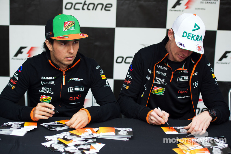 (L to R): Sergio Perez, Sahara Force India F1 and team mate Nico Hulkenberg, Sahara Force India F1 s