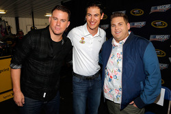 Joey Logano with actors Jonah Hill and Channing Tatum
