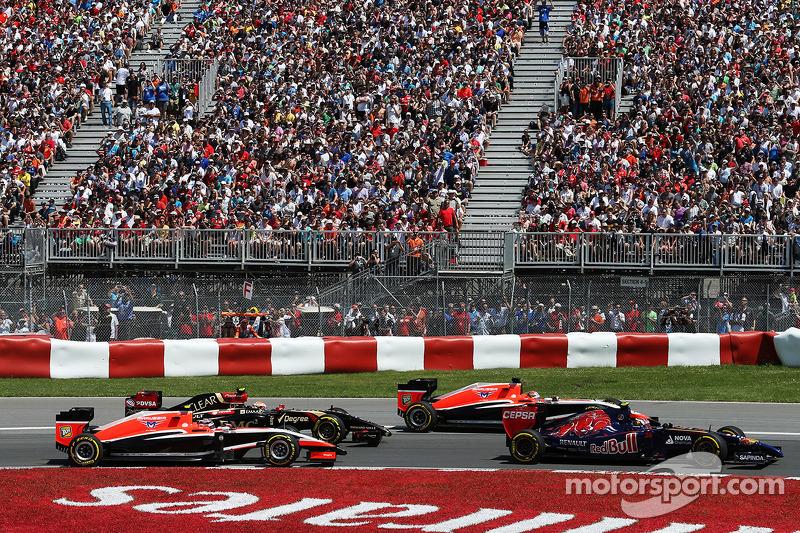 Daniil Kvyat, Scuderia Toro Rosso STR9, Jules Bianchi, Marussia F1 Team MR03, Pastor Maldonado, Lotus F1 E21 and Max Chilton, Marussia F1 Team MR03 at the start of the race