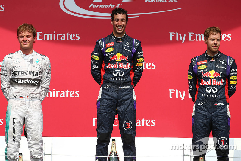 1st place Daniel Ricciardo, Red Bull Racing, 2nd place Nico Rosberg, Mercedes AMG F1 and 3rd place S