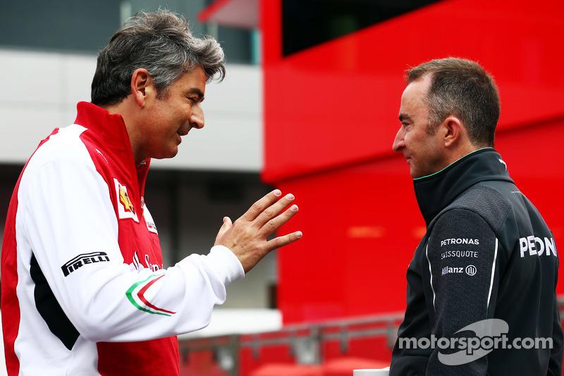 (L to R): Marco Mattiacci, Ferrari Team Principal with Paddy Lowe, Mercedes AMG F1 Executive Director
