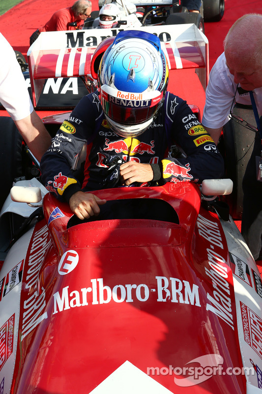 Sebastian Vettel, Red Bull Racing com the BRM P160 once driven by Dr Helmut Marko, Red Bull Motorsport Consultant