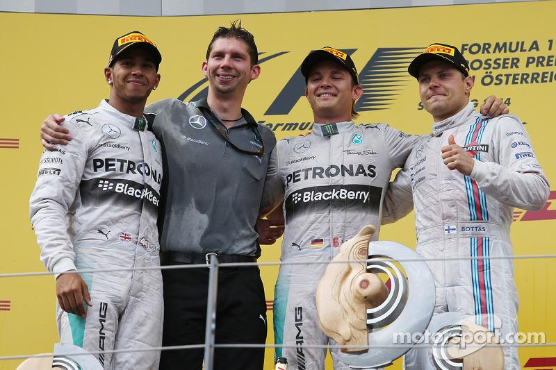 2014: 1. Nico Rosberg, 2. Lewis Hamilton, 3. Valtteri Bottas