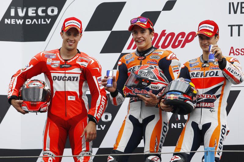 Le podium du GP des Pays-Bas 2014 : Marc Márquez, Andrea Dovizioso, Dani Pedrosa