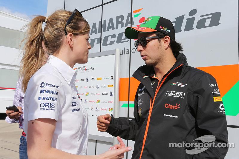 Susie Wolff, Williams piloto de desarrollo y Sergio Pérez, Sahara Force India F1
