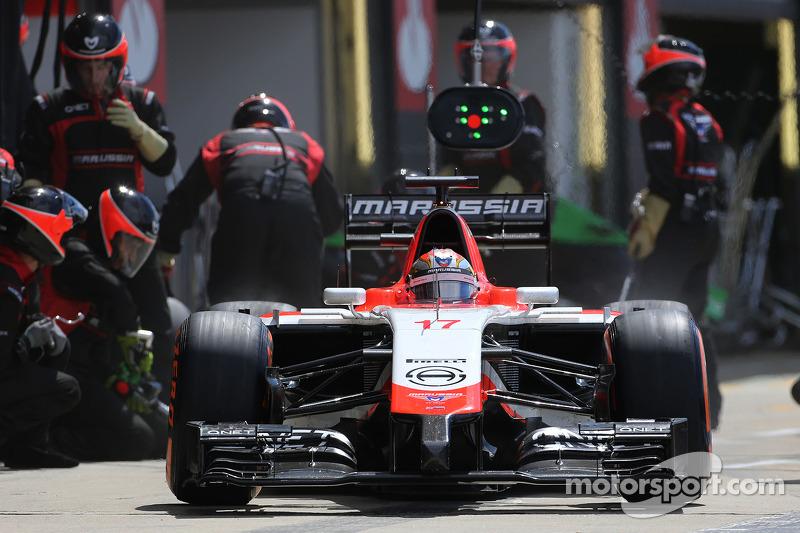 玛鲁西亚F1车队的朱尔斯·比安奇在停站