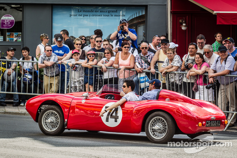 A vintage car goes right in the middle of scrutineering line