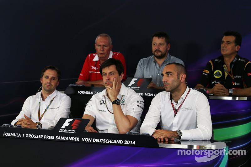 The FIA Press Conference: John Booth, Marussia F1 Team Team Principal; Paul Hembery, Pirelli Motorsport Director; Federico Gastaldi, Lotus F1 Team Deputy Team Principal; Christian Albers, Caterham F1 Team, Team Principal; Toto Wolff, Mercedes AMG F1 Share