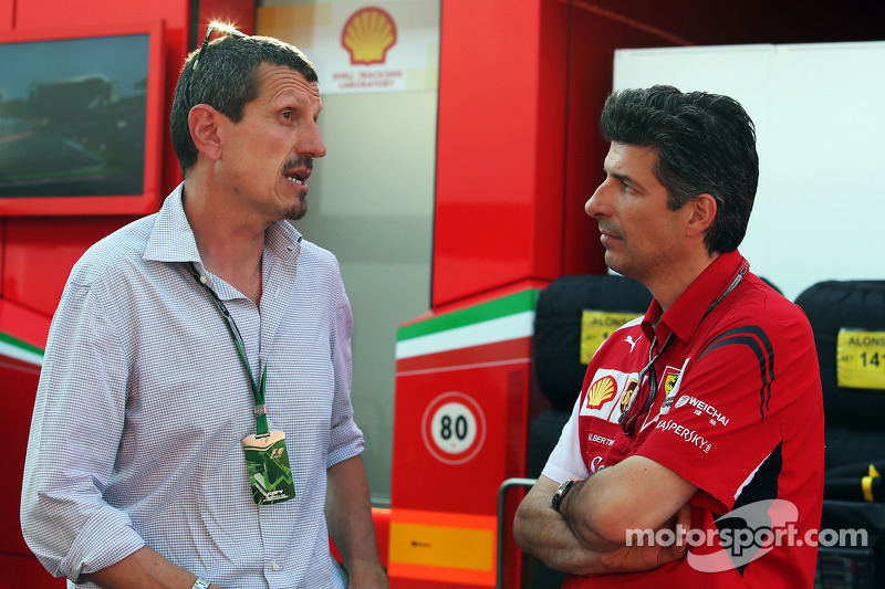 (L to R): Guenther Steiner, Haas F1 Team Principal with Claudio Albertini, Ferrari Head of Customer Teams Power Unit Operations