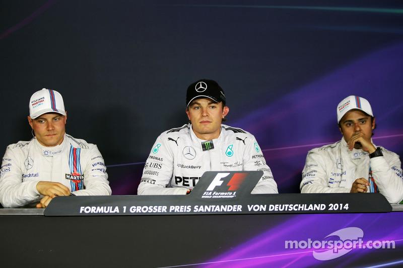 The FIA Press Conference: Valtteri Bottas, Williams; Nico Rosberg, Mercedes AMG F1; Felipe Massa, Williams