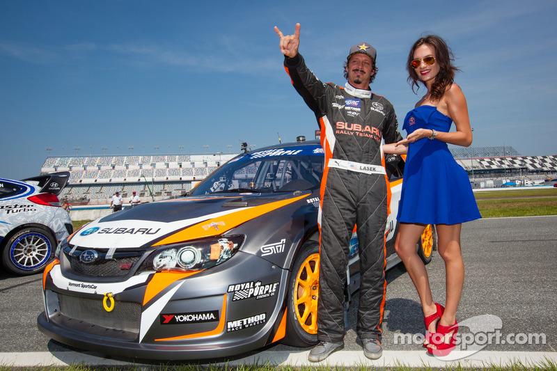 #81 Subaru Rally Team USA Subaru WRX STi: Bucky Lasek with the Red Bull girl at GRC: Daytona